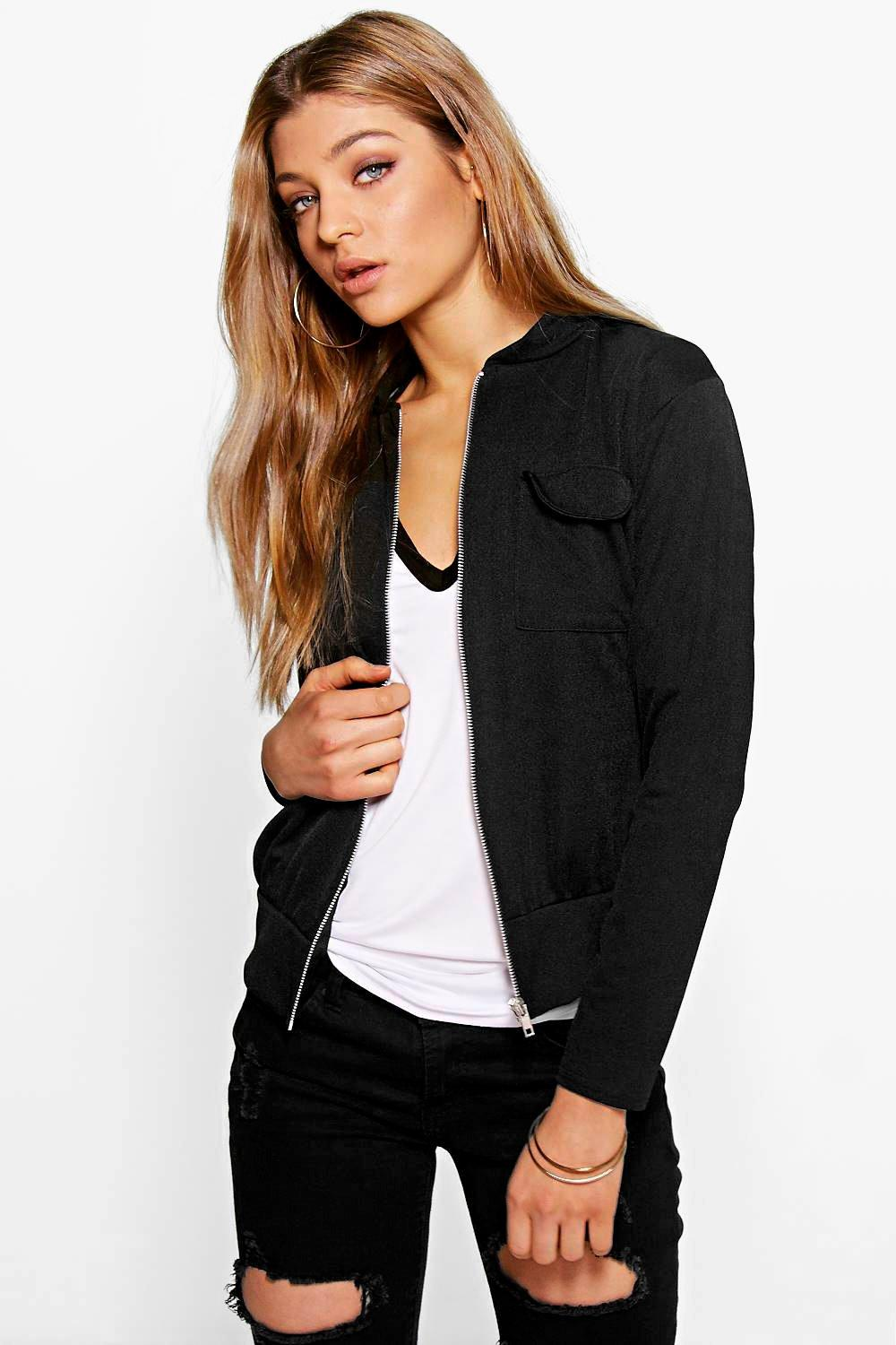 Crepe Pocket Bomber Jacket black