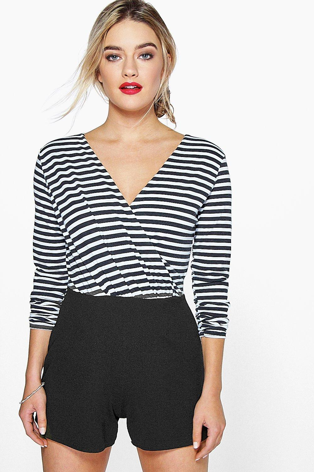 Lola Striped Wrap Front Playsuit