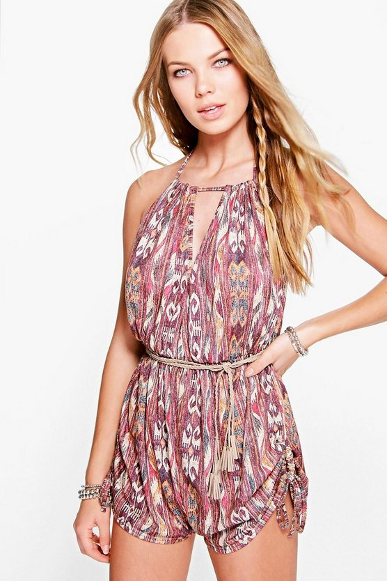 Ria Aztec Print  Ruched Side Playsuit
