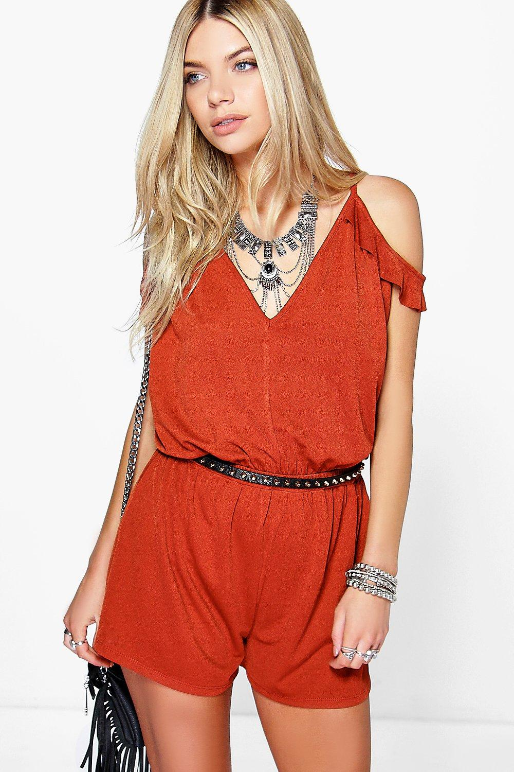 Jen Open Shoulder Ruffle Playsuit