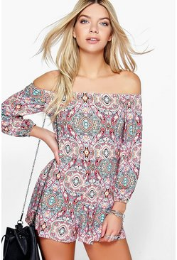 Zoe Paisley Print Off Shoulder Playsuit