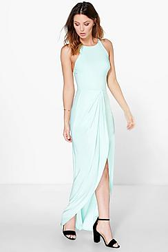 Astrid Gathered Wrap Cross Back Strap Maxi Dress