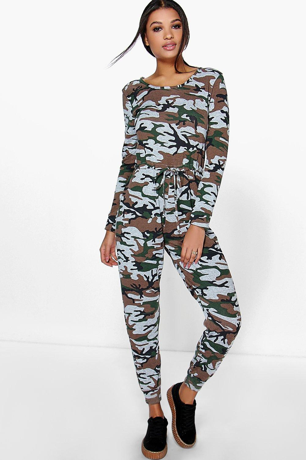 Anna Camo Knitted Jumpsuit
