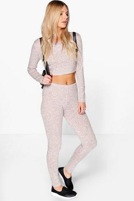 Amy Rib Knit Crop Knitted Loungewear Set