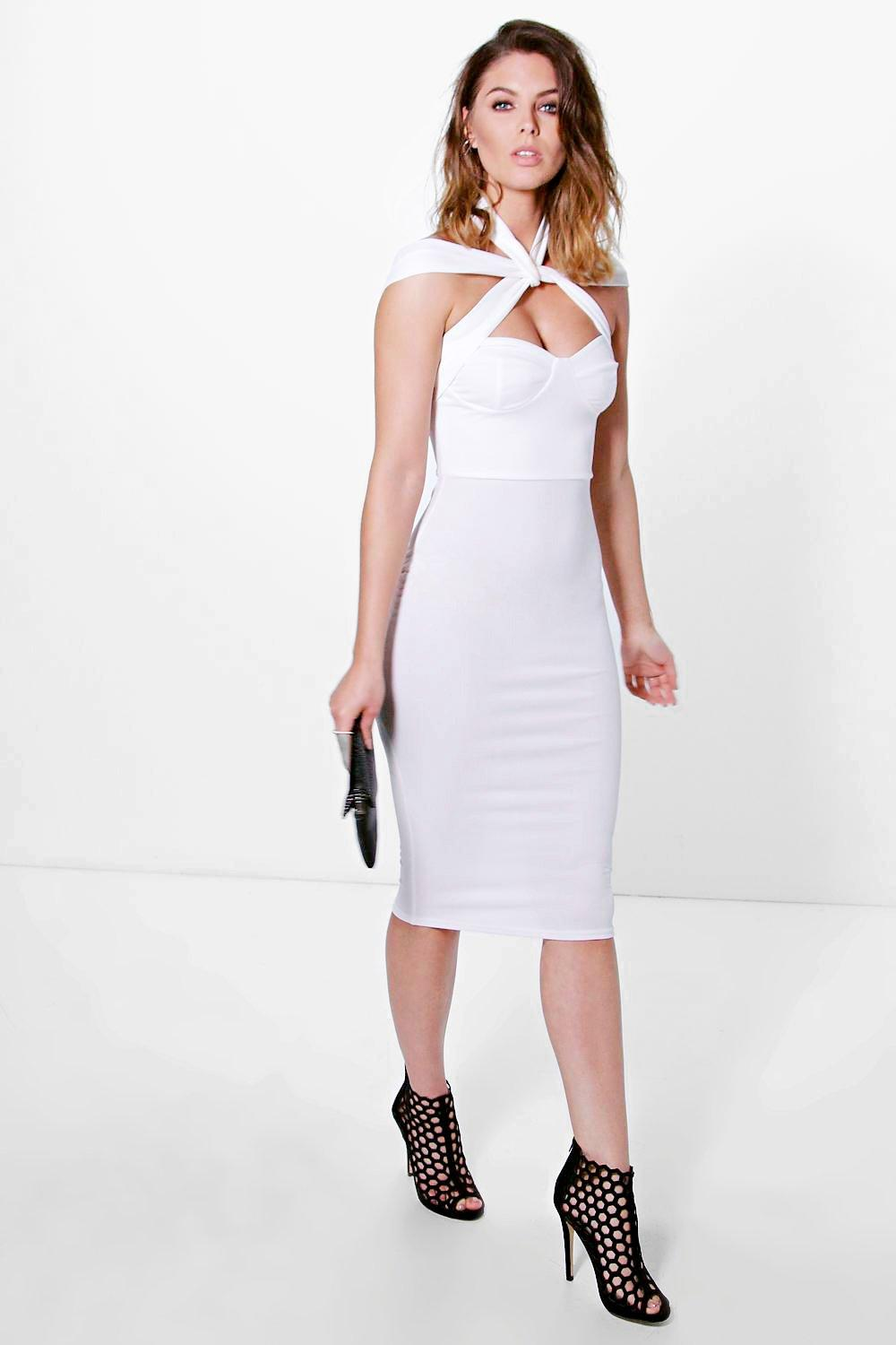 Strappy Top Detail Midi Bodycon Dress  ivory