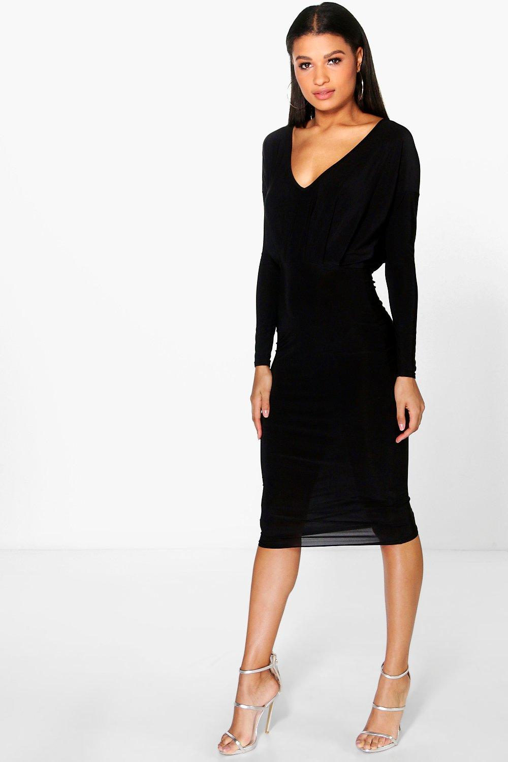 Leah Slinky Plunge Neck Midi Bodycon Dress