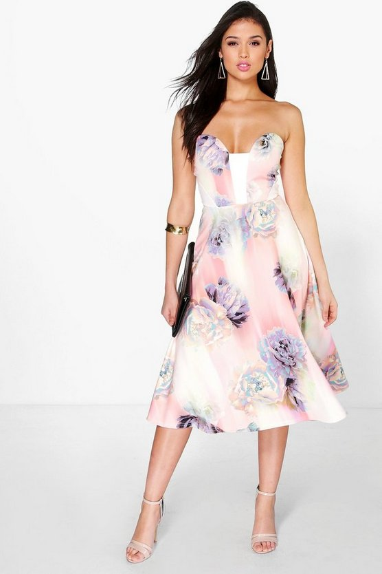 Isla Floral Sweetheart Bandeau Midi Skater Dress