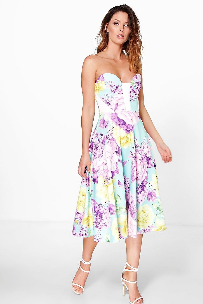 Bianca Floral Sweetheart Bandeau Midi Skater Dress