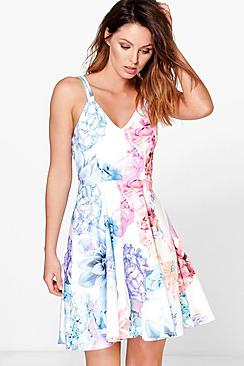 Daphne Floral Print Strappy Skater Dress