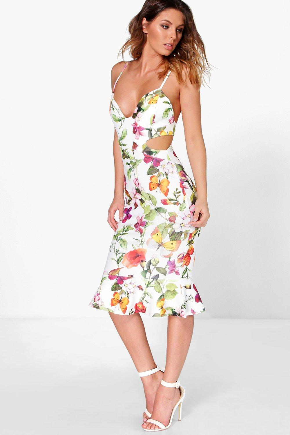 Dorris Floral Cut Out Side Peplum Hem Midi Dress