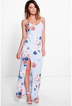 Emrata Strappy Cross Back Floral Slinky Maxi Dress