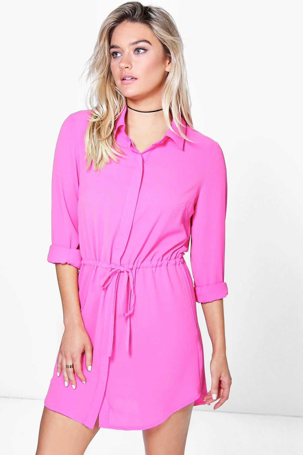 Marina Tie Front Shirt Dress