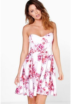 Anita Floral Bandeau Skater Dress