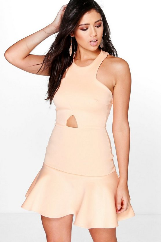 Jenna Cut Out Waist Peplum Hem Skater Dress