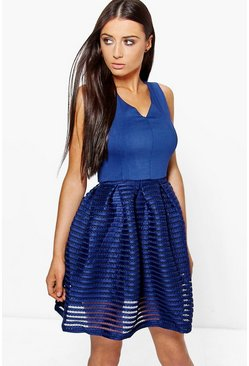 Boutique Mia Contrast Full Skirt Prom Midi Dress