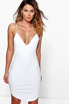 Chrisa Curved Hem Strappy Bodycon Dress