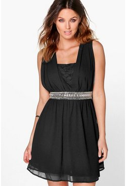 Boutique Ada Embellished Lace Skater Dress