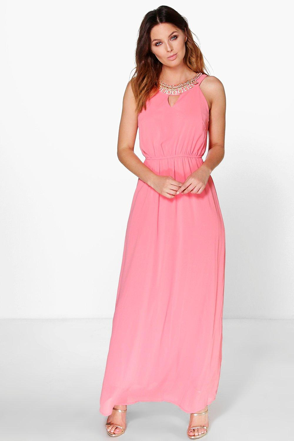 Boutique Mary Embellished Neck Maxi Dress
