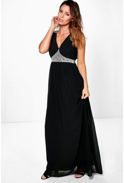 Boutique Sara Embellished Pleated Maxi Dress