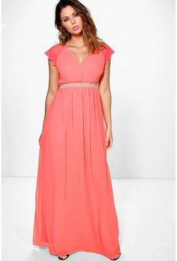 Boutique Dia Lace Sleeve Embellished Maxi Dress