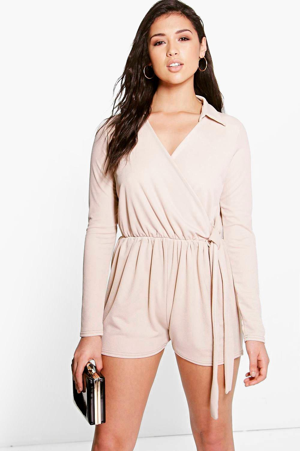 Megan Shirt Style Wrap Front Playsuit