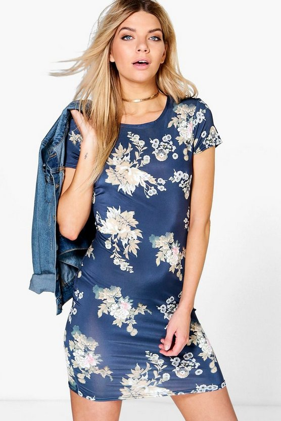 Tamara Oriental Floral Cap Sleeve Shift Dress