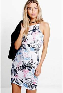 Samara Oriental Floral Racer Bodycon Dress