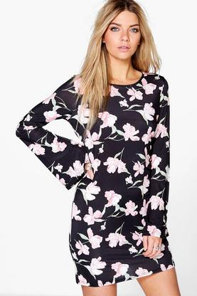 Myleene Oriental Floral Bell Sleeve Shift Dress