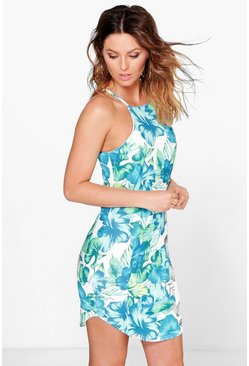 Theodora Tropical Print Bodycon Dress