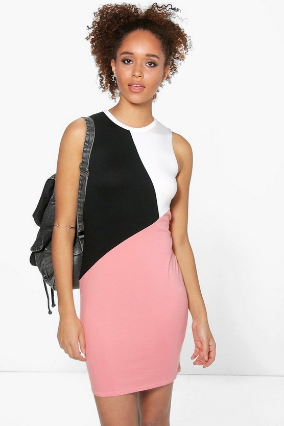 Elsie Sleeveless Colour Block Bodycon Dress