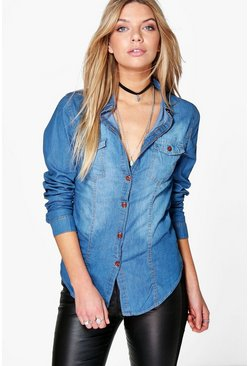 Julia Button Front Denim Boyfriend Shirt