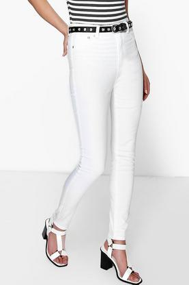 Allie Mid Rise White Denim Skinny Jeans