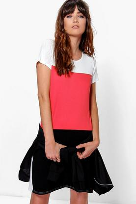 Antoinette Cap Sleeve Colour Block Shift Dress