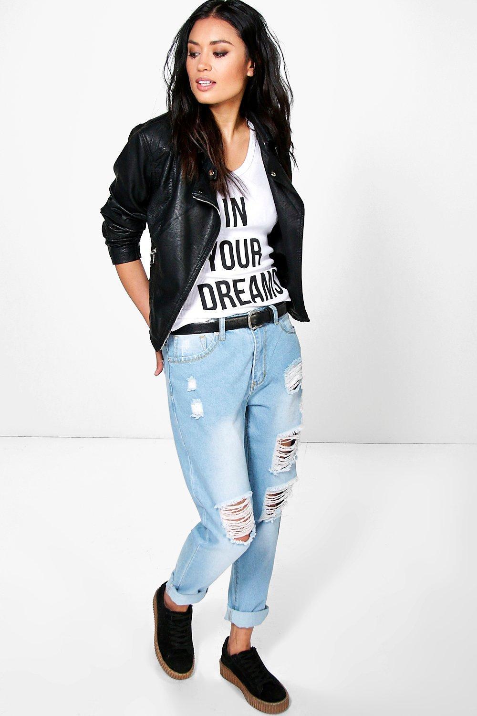Skye Distressed Boyfriend Jeans blue plus size,  plus size fashion plus size appare