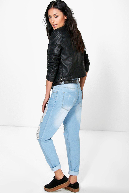 boohoo womens skye distressed boyfriend jeans ebay. Black Bedroom Furniture Sets. Home Design Ideas