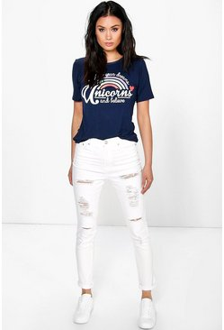 Heather High Rise Heavy Ripped Jeans