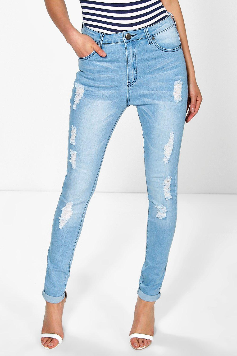 Salma Distressed Knee+ Thigh Skinny Jeans