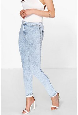 Lara High Rise Acid Wash Knee Slits Skinny Jeans