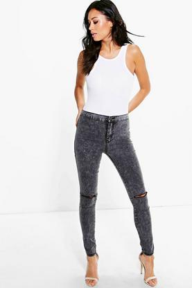 Lara High Rise Acid Wash Knee Slit Skinny Jeans