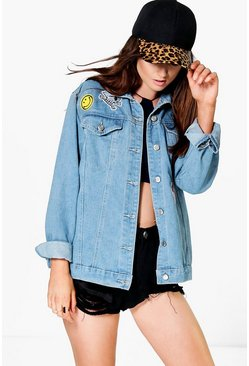Jodie Oversized Denim Jacket With Patches