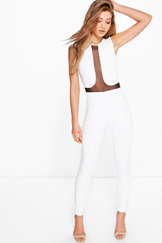 Ruby Mesh Panel Skinny Leg Jumpsuit