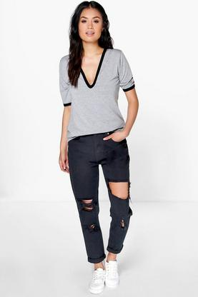 Sophie High Waist Distressed Mom Jeans