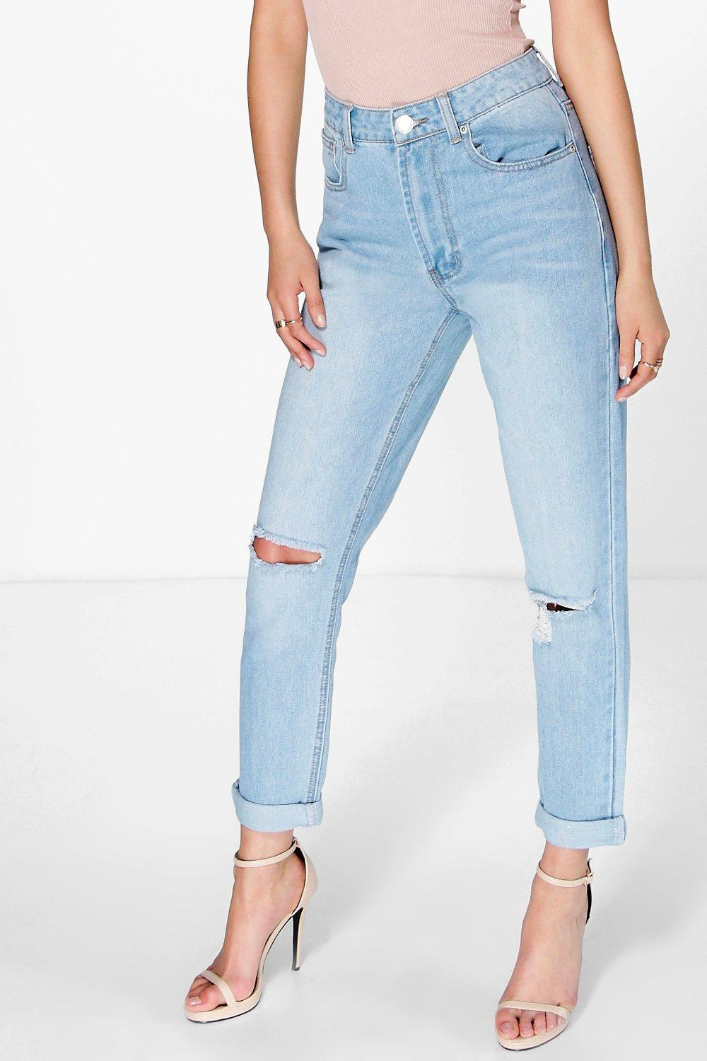 Sophie High Waist Bleached Mom Jeans | Boohoo
