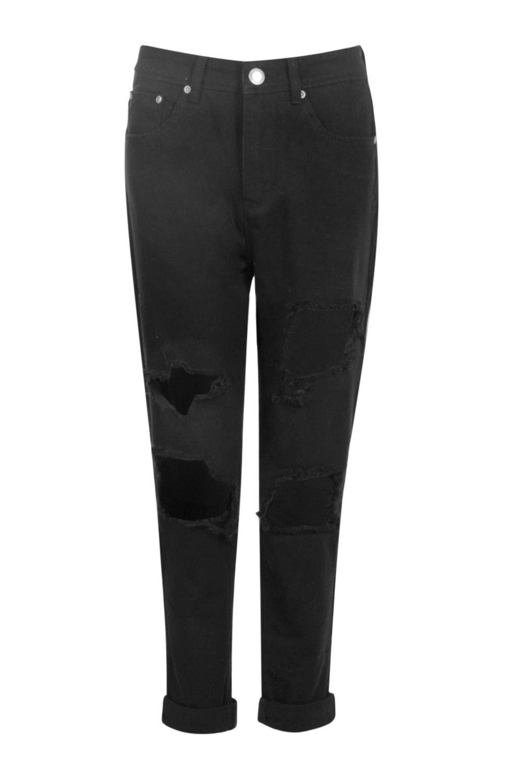 boohoo womens hatty high waist distress boyfriend jeans in black size 8 ebay. Black Bedroom Furniture Sets. Home Design Ideas