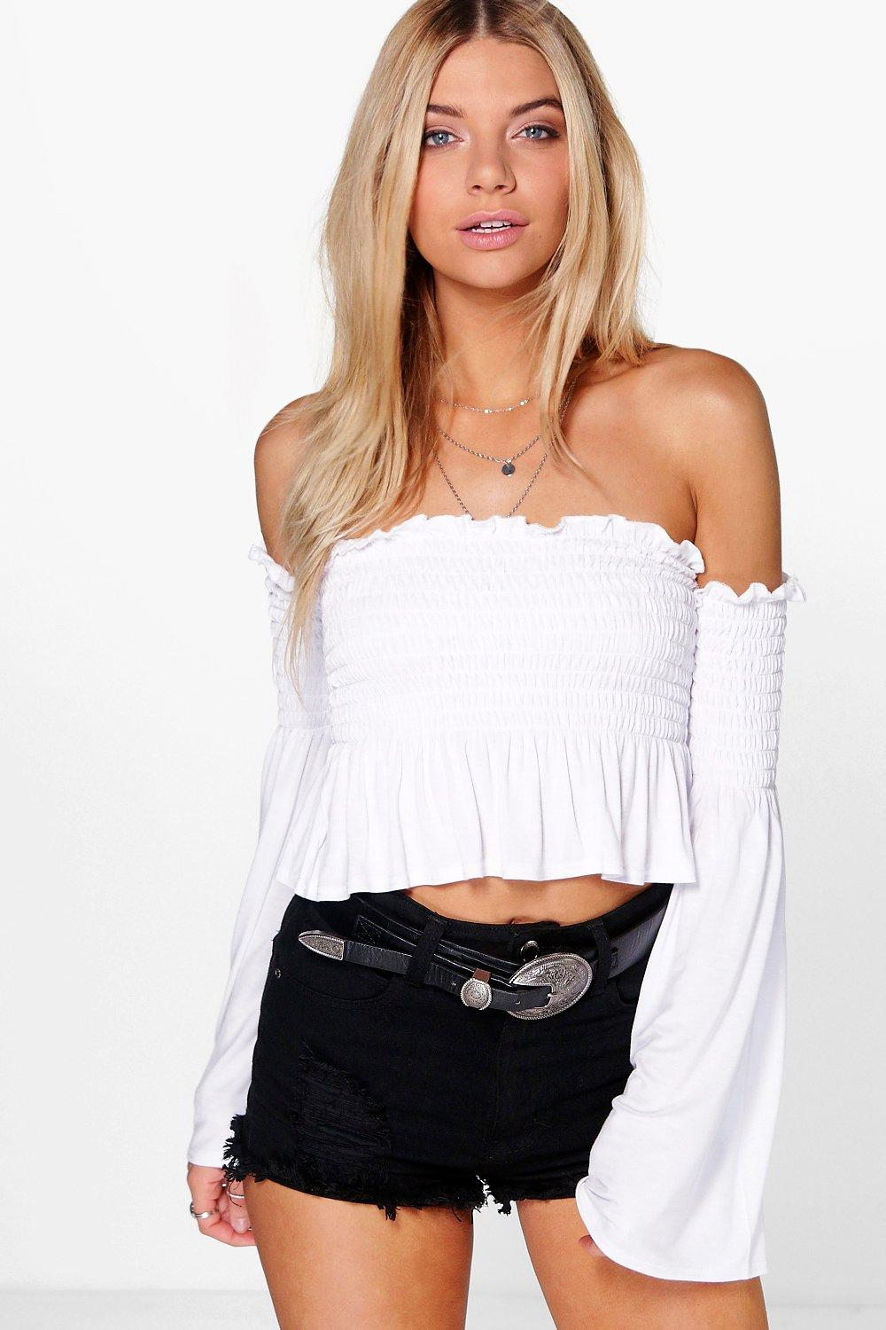 Flora Shirring Bardot Flare Sleeve Crop