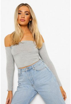 Cara Long Sleeve Bardot Crop Top