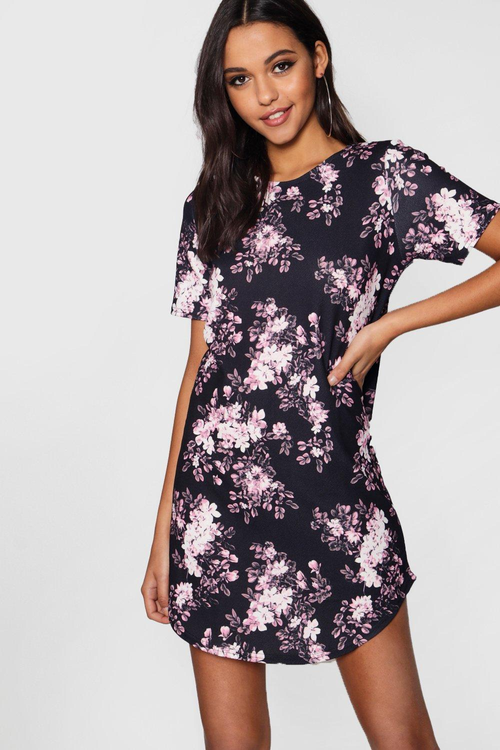 Elspeth Floral Curved Hem Shift Dress