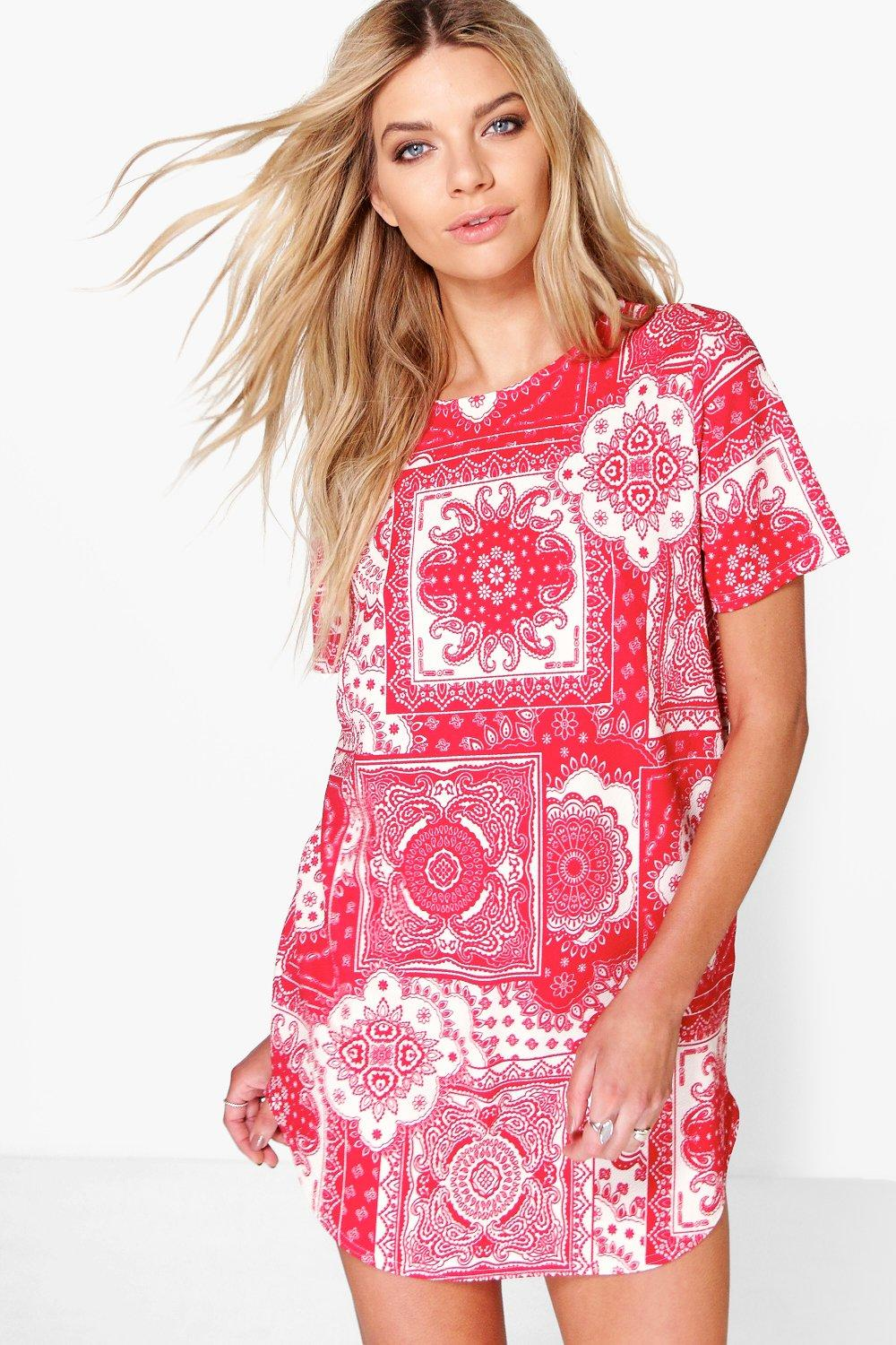 Arianne Scarf Print Cap Sleeve Shift Dress