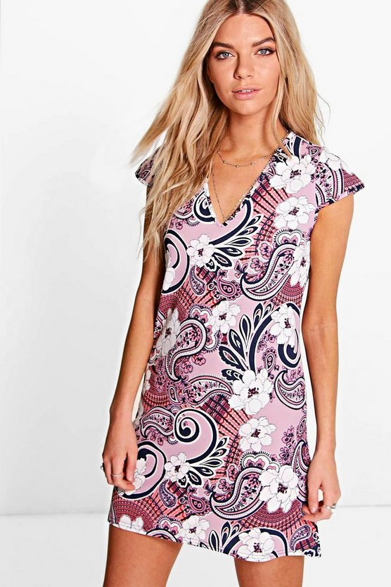 Neve Oriental Cap Sleeve V Neck Shift Dress