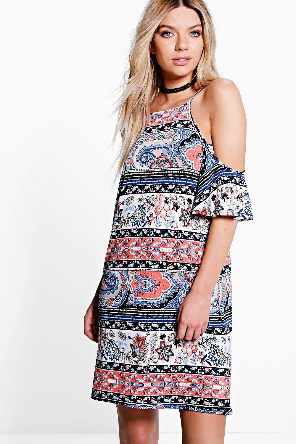Lana Paisley Short Sleeve Cold Shoulder Dress